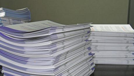 printed brochures on table